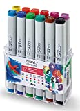 COPIC Classic Marker 12er Set 'Leuchtende Farben', professionelle alkoholbasierte Layoutmarker mit einer mittelbreiten und einer feinen Spitze