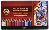 Koh-I-Noor POLYCOLOR 3825 - Farbstifte/Zeichenstifte für Künstler in Metall-Geschenkbox - farbig sortiert, 36er Set