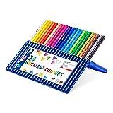 Staedtler 157 SB24 ergo soft Buntstifte (erhöhte Bruchfestigkeit, dreikant, ABS-System, rutschfeste Soft-Oberfläche, kindgerecht nach DIN EN71) Set mit 24 brillanten Farben
