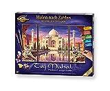 Schipper 609260435 Malen nach Zahlen, Taj Mahal - Bilder malen für Erwachsene, inklusive Pinsel und Acrylfarben, Triptychon, 50 x 80 cm