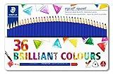 STAEDTLER ergosoft 156 M36 aquarell Buntstifte, wasservermalbar, erhöhte Bruchfestigkeit, dreikant, Set mit 36 brillanten Farben