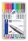 STAEDTLER triplus 334 SB10 Fineliner Set mit 10 brillanten Farben, hohe Qualität, superfeine, Linienbreite ca. 0.3 mm, aufstellbare STAEDTLER-Box,sortiert