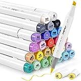 24 Grundfarbe Alkohol-Marker, Ohuhu Pinsel & Meißel, Sketch Kunst Marker, Doppelseitige Farbspitze, Brush Marker für Entwürfe und Comics, feiner Pinsel zum Skizzieren, Kalligraphieren, Zeichnen
