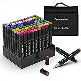 TongfuShop 80 Farbige Marker Set, Graffiti Pens, Marker Stift Set Doppelspitze Textmarker, für Studenten Manga Kunstler Sketch Marker Stifte Set