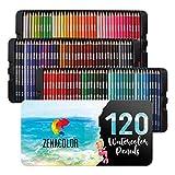 120 Aquarellstifte Zenacolor, Nummeriert - Set mit wasservermalbaren Buntstiften -120 Professionelle Buntstifte, Wasserlösliche und Einzigartige Farben