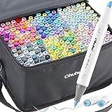 Brush Marker mit 216 Farben von Ohuhu, doppelseitige Farbspitze – grober Marker für Entwürfe und Comics, feiner Pinsel zum Skizzieren, Kalligraphieren, Zeichnen und Illustrieren
