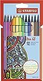 Premium-Filzstift - STABILO Pen 68 - 12er Pack - mit 12 verschiedenen Farben