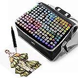 Farben Permanent Marker Set, Filzstifte, Graffiti Stift Permanent Marker, Twin Tip Textmarker, mit Tragetasche für Skizzieren, Malerei Coloring, Hervorhebungen und Unterstrei (168)