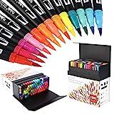100 Verschiedenen Farben Marker Set, Pinselstift Set Fasermaler, Aquarell Pinselstifte Marker Stift Set Doppelspitze Textmarker, bullet journal stifte HO-100B