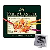 Faber-Castell 110024 - Künstlerfarbstift, 24 Polychromos Metalletui (24er Metalletui   inkl. Radierer)