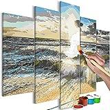 murando - Malen nach Zahlen Strand Meer 150x60 cm 5 TLG Malset mit Holzrahmen auf Leinwand für Erwachsene Kinder Gemälde Handgemalt Kit DIY Geschenk Dekoration n-A-0657-d-m