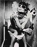 LSDEERE Malen nach Zahlen Set für Erwachsene Kinder Anfänger selber auf Leinwand malen nach Zahlen zur Heimdekoration Frau die in der Toilette raucht 40x50cm