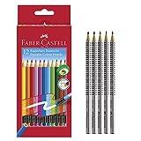 Faber-Castell Radierbare Buntstifte mit Gummitip, 12er Kartonetui + 5 Bleistifte (HB, 2B, B, H, 2H)