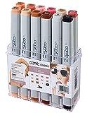 COPIC Classic Marker 12er Set 'Porträt-Farben', professionelle alkoholbasierte Layoutmarker mit einer mittelbreiten und einer feinen Spitze