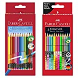 Faber-Castell Radierbare Buntstifte mit Gummitip, 12er Kartonetui + Sonderfarbset