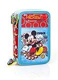 Disney Micky Maus 55324 Federtasche, Federmäppchen, 3-stöckig gefüllt 44 Teilen