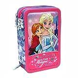 Disney Die Eiskönigin 57264 Federtasche, Federmäppchen, 3-stöckig gefüllt 44 Teilen, Anna und Elsa