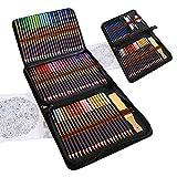 Komplettes Zeichenset 96-Teilig - Anfänger oder Fortgeschrittene, Federmappe mit 72 Buntstifte, 12 Bleistifte und Zubehör, Ideales Set für Künstler, Erwachsene und Kinder