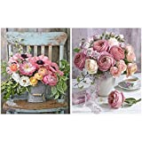Heyu-Lotus DIY Malen nach Zahlen Kits, Rose Flowers Leinwand Ölgemälde Kit für Erwachsene Kinder Anfänger DIY Arts Craft, 16 x 20 Zoll (2er Pack)