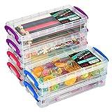 ATPWON Aufbewahrungsbox Transparent Stiftebox Bleistiftbox aus Kunststoff Pinselmalstifte für Stifte Pinsel Studenten Schreibwaren(6 Stück)