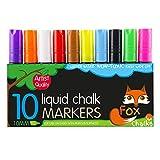 Fox Chalks 10x Boardmarker Kreidestifte - 10mm Spitze - Flüssigkreide Marker für Whiteboard, Flipchart, Glas - Leicht entfernbar
