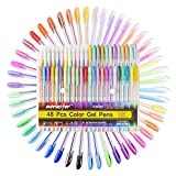48 Stück Glitzer Gelschreiber Gelstifte Multicolor Gel Stift Set für Erwachsene und Kinder Malbücher, Zeichnen und Schreiben