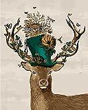 Fuumuui DIY Malen Nach Zahlen-Vorgedruckt Leinwand-Ölgemälde Geschenk für Erwachsene Kinder Kits Home Haus Dekor - Schmetterling im Hirsch 40*50 cm