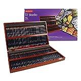 Derwent Studio Buntstifte in einer Geschenk-Box aus Holz, Zeichnen & Ausmalen, 72er-Set, Ideal für Illustrationen & Detaillierung, Professionelle Qualität, 32199