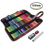 Feelily 72 Farben Aquarell Bleistift Set / Zeichnung Kunst Wasserlösliche Buntstifte Supplies Roll UP Waschbare Leinwand Bleistift wickeln für Artist Sketch, Aufrollbare Canvas Pencil Case Included