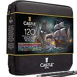 Castle Art Supplies 120 Buntstifte im Set mit Reißverschluss-Tasche, perfekt für alle Künstler Glatte, hochwertige Minen und Buntstifte zum Verblenden und Zeichnen in praktischem, robustem Reiseetui