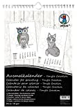 Ursus 24900000 - Ausmalkalender A4, Tangle, Tiermotive, 12 Blatt