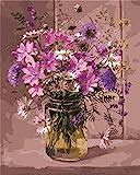 CaptainCrafts New Malen nach Zahlen 16x20 für Erwachsene, Koinder Leinwand - Tradescantia Fragrant Lila Blumen (Frameless)