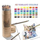 48 farbstift Set, nummeriert, mit einer tragbaren Tube, Ohuhu Buntstifte für zum Kolorieren von Zeichnen, professionelle Farbstifte für Erwachsene und für Kinder, Geschenk für Künstler