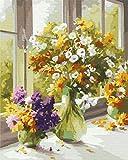 YXQSED Holzrahmen DIY ölgemälde Malen nach Zahlen Erwachsene -Die Blumen blühen in Einer Vase (17) 16X20 Inch