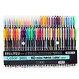 60 Stück Glitzer Gelschreiber Gelstifte Multicolor Gel Stift Set für Erwachsene Färbungsbücher Zeichnung Malbücher, mit tollen Farben - metallic, neon, glitter, Gel-Tintenroller (60 Farben)