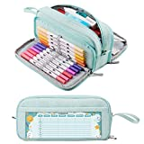 KALIDI Federmäppchen mit 3 Fächer Große Kapazität Mäppchen Federtasche Stiftetasche Pencil Case Bleistifttasche für Schule & Büro (grün)