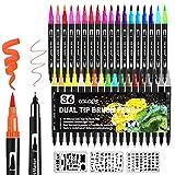 Dual Brush Pen Set 36 Farben + 3 Vorlage Filzstifte Set Dicke und Dünne Doppelfasermaler Fineliner Brush Pens Pinselstift Set Aquarell für Erwachsene und Kinder Handlettering Manga Mandalas
