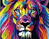 Komking Malen nach Zahlen, Set für Erwachsene, Kinder, Anfänger, selber auf Leinwand malen nach Zahlen zur Heimdekoration, No Frame bunter Löwe 40,6 x 50,8 cm