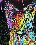 golden maple DIY Malen nach Zahlen-Ölgemälde Geschenk für Erwachsene Kinder Malen Nach Zahlen Kits Mit Holzrahmen Home Haus Dekor -Red Heart Cat 40*50 cm