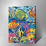 golden maple DIY Digital Leinwand-Ölgemälde Geschenk für Erwachsene Kinder Malen Nach Zahlen Kits Mit Holzrahmen Home Haus Dekor - Meereswelt Sea World 15.75 * 19.69 inch