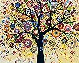 Toudorp Malen nach Zahlen Blume DIY Ölgemälde nach Zahlen Kits auf Leinwand mit 3X Lupe - Abstrakter Baum 40cm x 50cm (ohne Rahmen)