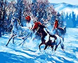 YEESAM ART Neuheiten Malen nach Zahlen Erwachsene Kinder, Laufen Pferd 40x50 cm Leinen Segeltuch, DIY ölgemälde Weihnachten Geschenke
