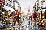 YEESAM ART Neuerscheinungen Malen nach Zahlen für Erwachsene- Eiffelturm Paris Romantisch Blumenstraße 16x20 Zoll Leinen Segeltuch - DIY ölgemälde ölfarben Weihnachten Geschenke
