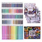 Laconile Farbstifte, 120 ölige Farbstifte Set mit 4 Malbüchern für Erwachsene , Kunststifte zum Skizzieren Basteln Malen Mischen Drwaing