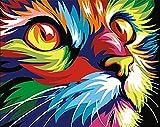 YEESAM ART DIY Ölgemälde Malen nach Zahlen Erwachsene Kinder, Bunt Gemalter Katze Kopf Zahlenmalerei ab 5 Öl Wandkunst (Bunt, mit Rahmen)