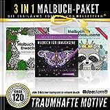 3 IN 1: Malbuch für Erwachsene (120 Motive - Märchenwald, Tierwelt, Grazile Nachtfalter)