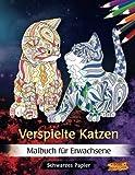 Verspielte Katzen: Malbuch für Erwachsene   Schwarzes Papier