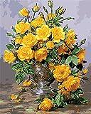 CaptainCrafts New Malen nach Zahlen 16x20 für Erwachsene, K0inder Leinwand - Hunderttausend Jiao MEI, schöne gelbe Blumen (Mit Rahmen)