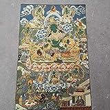 REAPP Tibetanische Thangka. Thangka Stickerei Tibetan Buddhismus Seide Stickerei brokade Nepal grün Tara bodhisattva sparen acht schwierige mütter thangkas (Size : 90x60 cm)
