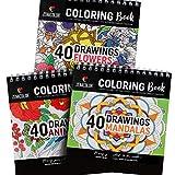Malbuch-Set aus 3 Büchern: Tiere, Mandala, Blumen - Spiral-Malbücher für Erwachsene oder Kinder für Kreative Hobbys - Malbuch als Anti Stress Spielzeug - 120 Hochwertige Zeichnungen zum Ausmalen